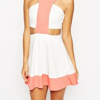 ASOS Colourblocked Skater Dress with Cut Out Detail