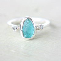 Rough Apatite & Diamond Ring White Diamond Ring Sterling Silver Apatite Diamond Engagement Ring Size 7-7,5US Promise Ring Diamond Stacking