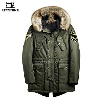 KENNTRICE Coat Men Winter 2017 Military Fur Long Parka Men Hooded Jackets Tactical Padded Jackets Cotton Army Warm Anorak