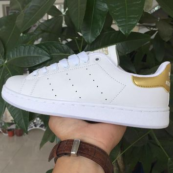 Unisex Men & Women Casual Sport Print Adidas Stan Smith Shoe Golden