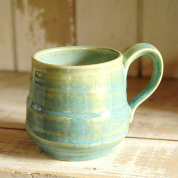 Teal pottery mug,blue green cup,ceramic mug,turquoise clay mug,pottery tea cup,wheel thrown mug,medium coffee mug,stoneware mug,