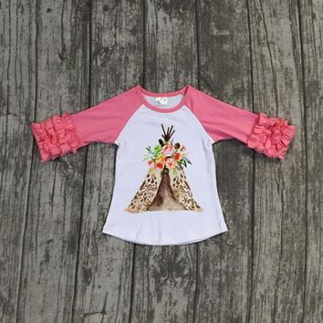 new arrival Fall/winter baby girls children clothes boutique cotton top t-shirts raglans icing sleeve coral tent camper half