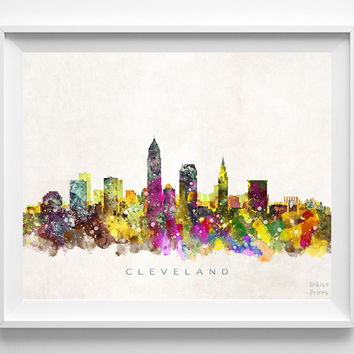 Cleveland Skyline Watercolor Print