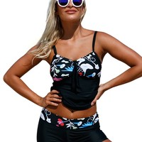 3XL Plus Size Tankini Swimsuit Floral Detailing Bandeau Tankini Set with Shorts for Women 2pcs Swimsuit Vintage Beach Wear