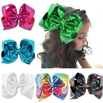 24Colors 8 inch Big Rainbow Large Hair Bow Sequins Ribbon Hairgrips With Alligator Clips Headwear Bowknot Girls Hair Accessories