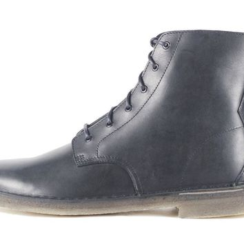 Clarks for Men: Desert Mali Black Leather Boot