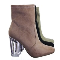 Linya Lucite Clear Chunky Block High Heel Dress Boots, Transparent