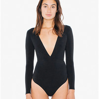 Cotton Spandex Cross V Bodysuit | American Apparel