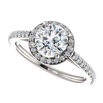 lillian ring – NEO moissanite engagement ring, 1 carat, diamond halo, 14k white gold