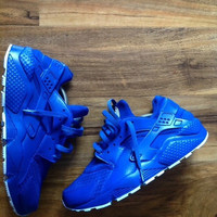 New Custom Triple  All Dark Royal Blue Huaraches
