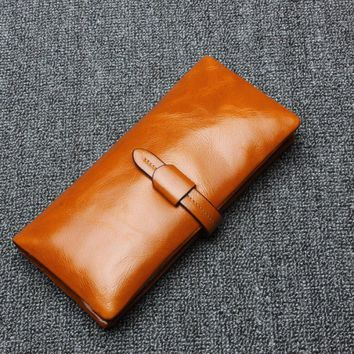 Brand Genuine Leather Wallets 100% Natural Cow Leather Women Wallets Purse Causal Ladies Clutches Vintage Male&Female Wallet W10