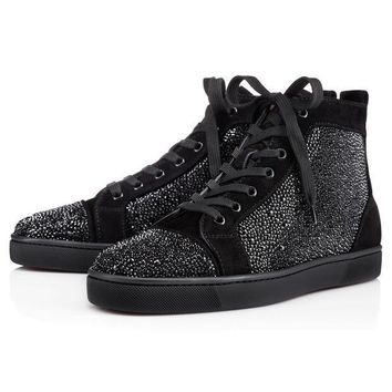 PEAPA Christian Louboutin Louis Strass Men's Women's Flat Black Suede 3100592BK01
