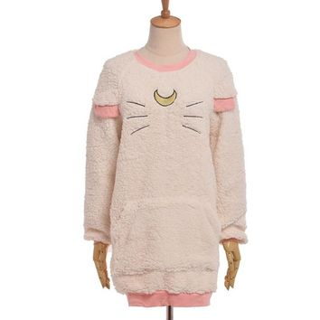 Sweet Harajuku Lolita Cat Pattern Hoodie Anime Sailor Moon Ear Fleece Outwear Pullover Tops