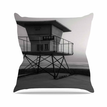 "Nick Nareshni ""Lifeguard Station At Dusk"" Black White Outdoor Throw Pillow"