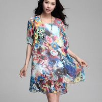 double layer chiffon women dress floral print  fifth sleeve loose maternity clothes plus size