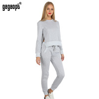 Gagaopt 2017 Autumn Made O-neck Irregular Grey Women Tracksuits Set Both side Slit Sweatsuit Set for Autumn