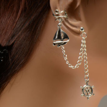 Sailboat and Ship Wheel Nautical Silver Chain Ear Cuff