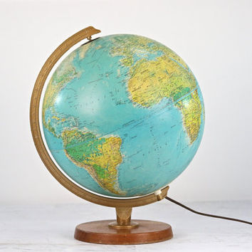 Vintage Light Up Globe, Globe, Vintage Globe, Replogle Light Up Globe