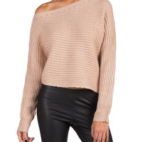 Knitted Open Shoulder Crop Sweater - Pink /