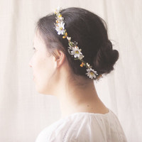 Daisy Flower Crown, Rustic Circlet, Bridal Headpiece, Baby's Breath, Woodland Halo, Wedding Hair Accessories, Bohemian, Country, Yellow