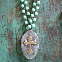 """Rustic cross crochet necklace """"Inner Faith"""" religious, boho jewelry OOAK bohemian, double strand brass silver, vintage country cottage chic"""