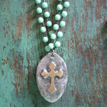 "Rustic cross crochet necklace ""Inner Faith"" religious, boho jewelry OOAK bohemian, double strand brass silver, vintage country cottage chic"