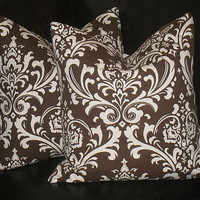 """Decorative Pillows EUROS chocolate Brown DAMASK 26 inch pillows set of TWO brown and natural 26"""""""