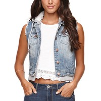LA Hearts Fleece Hood Denim Vest - Womens Jacket - Blue