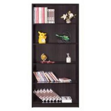 Spacious Dark Brown Finish Bookcase With 5 Open Shelves.