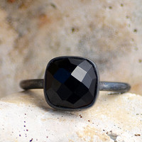 Faceted Black Onyx oxidized sterling silver cushion square shape stacking bezel set ring - gemstone cushion silver ring