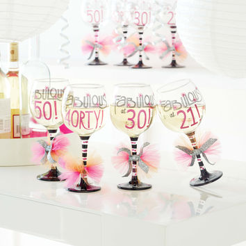 Fabulous at 40 Wine Glass