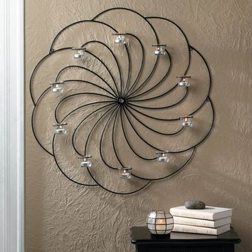 Iron Pinwheel Design Candle Wall Sconce