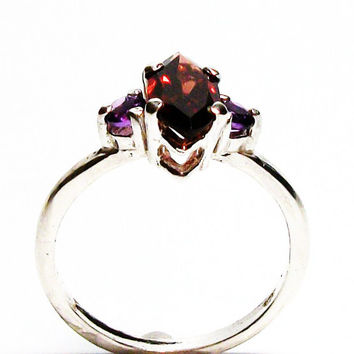 "Garnet, garnet ring, garnet accent ring, garnet amethyst, 3 stone ring, anniversary ring, s 6 1/2 ""Red Fever"""