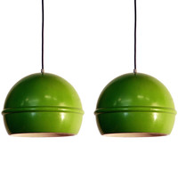BLEND INTERIORS - Pair of French 60's green globe hanging lights - 1stdibs