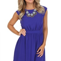 Classic Cap Sleeve Dress Purple
