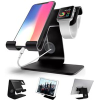 Apple Watch Stand , iphone Stand , ZVE Universal Desktop Cellphone Stand Apple iwatch Charging Dock for all Android Smartphone, iphone6/7/8 X Plus,Samsung, Nintendo Switch,iWatch and Tablets - Black