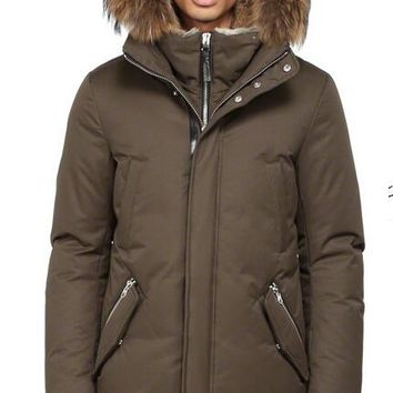 Mackage men's edward-f4 winter down coat with fur hood and leather details jacket/brown