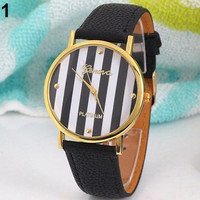 Stripes Print Leatheroid Analog Quartz Wrist Watch
