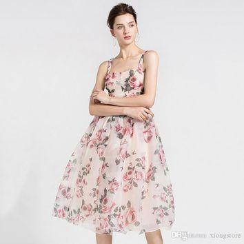 Sexy Floral Dress Square Female Backless Tunic High Waist Draped Printed A Line Midi Beach Dresses Summer Fashion 2019 Sweet Clothing