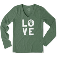 Women's Michigan State Love Long Sleeve Cool Vee