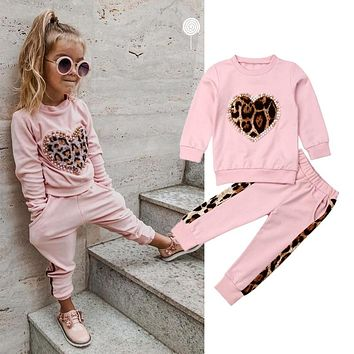 6M-5Y Toddler Kid Baby Girl Winter Clothes Sets Pink Long Sleeve Leopard Tops Long Pants Outfit Tracksuit