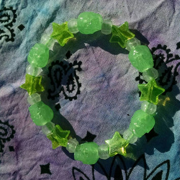 Glowing Skulls Neon Green Stars Beaded Glowing Stretch Kandy Bracelet Cyberpunk Jewelry Street Fashion