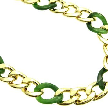 Green Metal And Lucite Chunky Chain Necklace