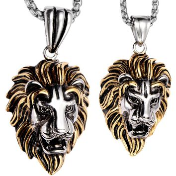 SHIPS FROM USA Couple necklace stainless steel lion pendants W chain gold silver valentines day gifts for him her lovers jewelry GN06