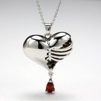 Garnet Stone Sterling Silver Plated Rib Inspired Heart Necklace