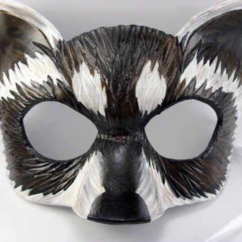 Brown and Grey Raccoon Mask Hand Made from 8 oz leather.  Great for cosplay, masquerade, dress up or display!