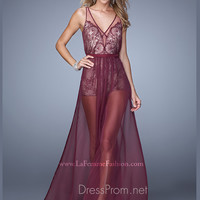 La Femme Embroidered Chiffon Prom Dress 21333