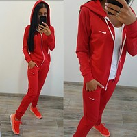 Nike :Fashion Letter Long Sleeve Shirt Sweater Pants Sweatpants Set Two-Piece Sportswear