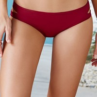 LA Hearts Cutout Side Reversible Bikini Bottom - Womens Swimwear - Red