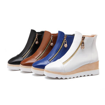 Zipper Wedges Boots Women Shoes Fall|Winter